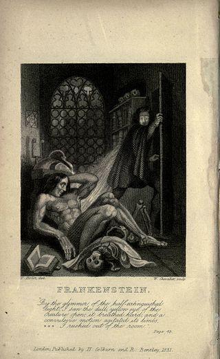Portada interior de la edición de 1831 de Frankenstein de Mary Shelley