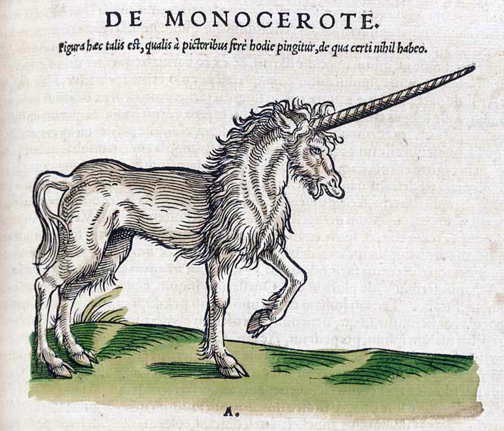 El unicornio en Historiae animalium de Gesner (1551)