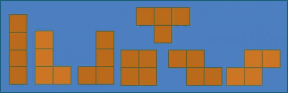 """Los siete """"tetraminós planos"""". Los tetraminós L y J son uno imagen especular del otro, y por tanto son el mismo si nos movemos en el espacio. Lo mismo ocurre para las piezas S y Z"""