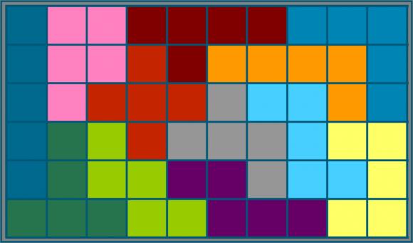 Una solución, de las 2.339 que existen, del juego de los pentominós para un rectángulo 6 x 10. Existen 1.100 soluciones para el rectángulo 5 x 12, 368 disposiciones para el rectángulo 4 x 15 y solo dos para el 3 x 20
