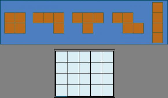 Los cinco tetraminós y el tablero rectangular 5 x 4 sobre el que colocar las cinco piezas anteriores