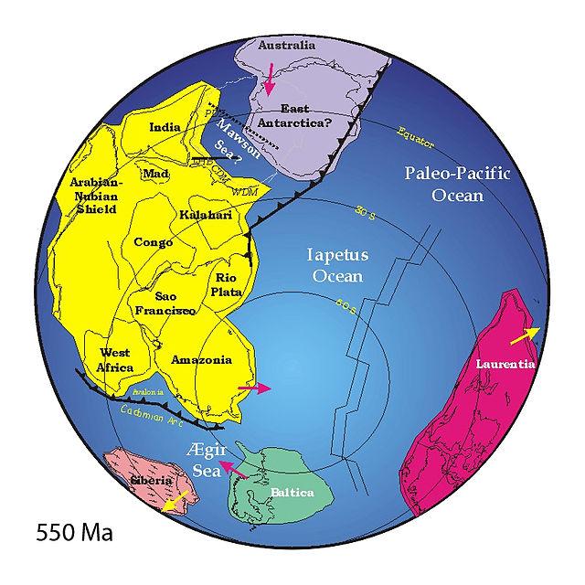 Posiciones de los continentes hace 550 millones de años.