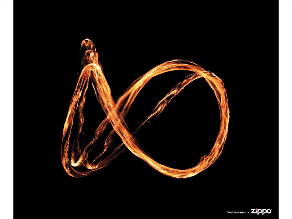 Existen muchos anuncios publicitarios que utilizan el símbolo del infinito, la lemniscata, como este anuncio de ZIPPO