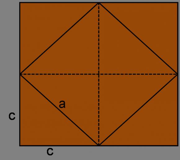 Demostración visual del teorema de Pitágoras para el caso de un triángulo rectángulo cuyos catetos tengan la misma medida