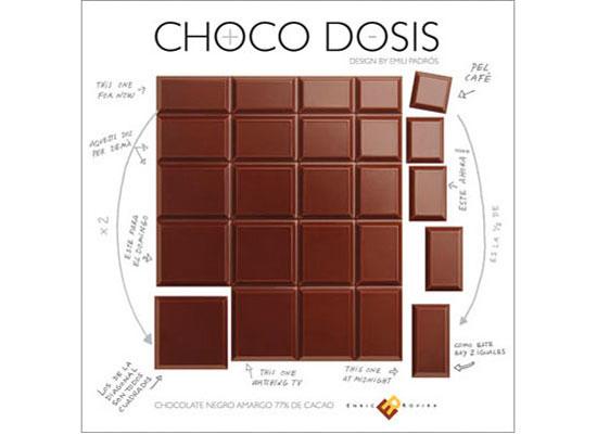"Tableta de chocolate ""chocodosis"" de Enric Rovira, diseñada por Emili Padrós"