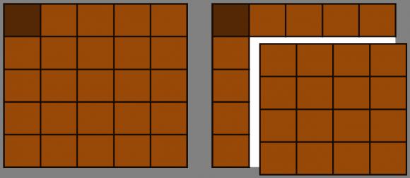 Tableta cuadrada de tamaño 5 x 5, y primer movimiento del jugador que inicia el juego