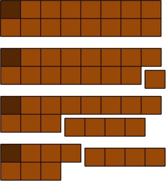 Tableta de chocolate de dos filas, movimiento del primer jugador, movimiento del primer tipo de su rival y réplica del primer jugador