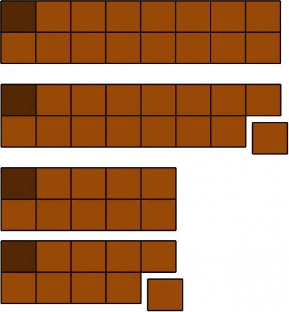 Tableta de chocolate de dos filas, movimiento del primer jugador, movimiento del segundo tipo de su rival y réplica del primer jugador