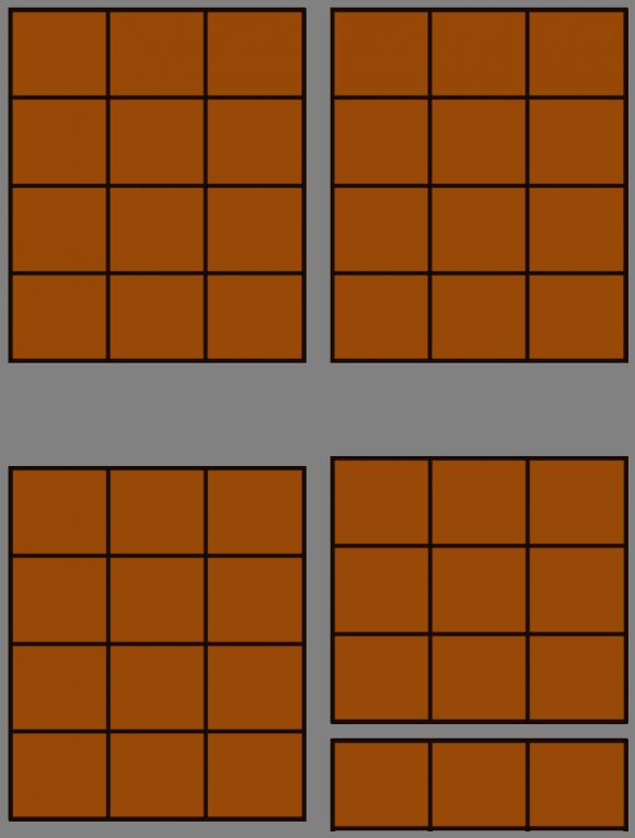 Los dos cortes de la tableta 6 x 4, generando tres trozos de tamaños 3 x 4, 3 x 1 y 3 x 3