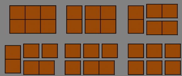 Ejemplo de una partida sencilla sobre una tableta de chocolate de tamaño 3 x 2, en la que gana el que hace el primer movimiento