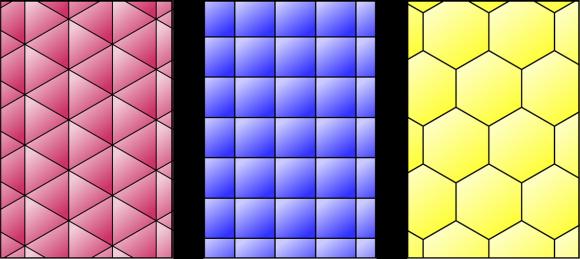 Los tres embaldosados regulares, mediante triángulos equiláteros, cuadrados y hexágonos regulares