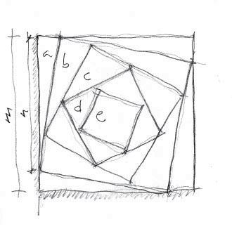 Boceto realizado por Santos Bregaña en el que intenta recoger esa idea de ir girando el cuadrado hacia el interior para crear triángulos de diferentes medidas, pero que tengan la misma superficie.