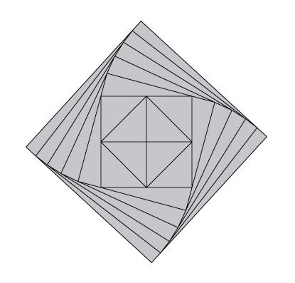 Solución geométrica del problema planteado por Santos Bregaña de la descomposición de la tableta de chocolate cuadrada en triángulos rectángulos de la misma superficie