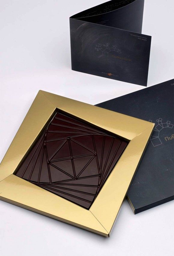 "Tableta de chocolate ""Pythagoras"" de Enric Rovira, diseñada por Santos Bregaña, con la colaboración del matemático Enrique Zuazua"
