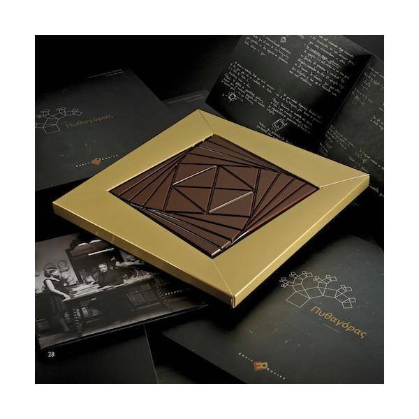"""Tableta de chocolate """"Pythagoras"""" realizada por el diseñador Santos Bregaña, con la colaboración del matemático Enrique Zuazua, para el maestro chocolatero Enric Rovira"""