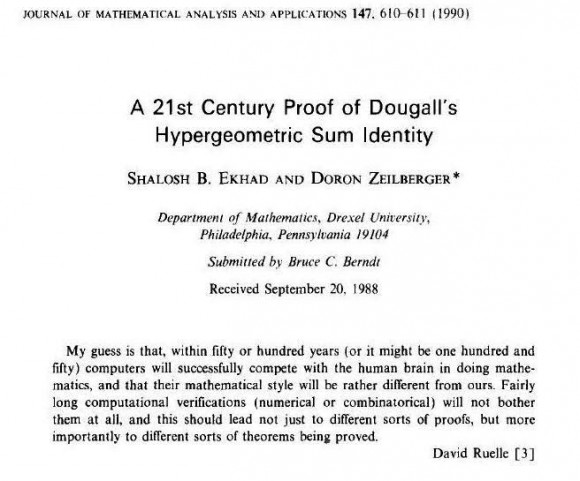 Primer artículo del matemático Shalosh B. Ekhard, junto al matemático Doron Zeilberger, A 21st Century Proof of Dougall's Hypergeometric Sum Identity (Journal of mathematical Analysis and Applications, 1990)