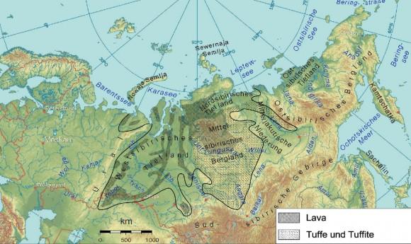 Extensión de la megaerupción de los Traps Siberianos