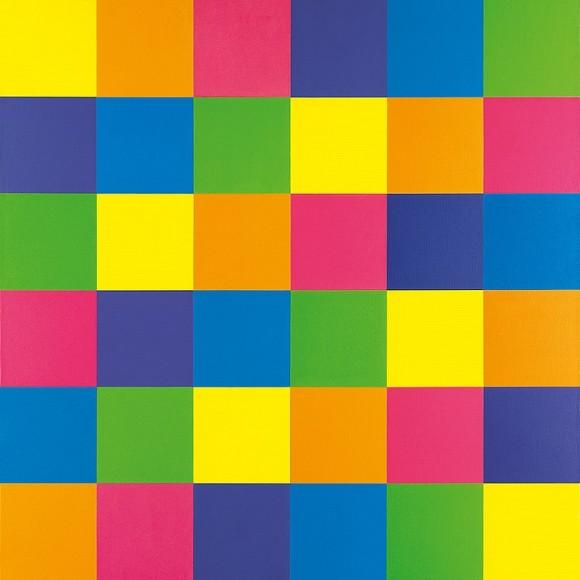 """Cuadro del pintor suizo Richard Paul Lohse, que bajo el título """"Komplementäre Gruppen durch sechs horizontale systematische Farbreihen"""" -Grupos complementarios formados por seis series sistemáticas horizontales de color- (1950 y 1976), recoge un cuadrado latino de orden 6 cuyos símbolos son los colores"""