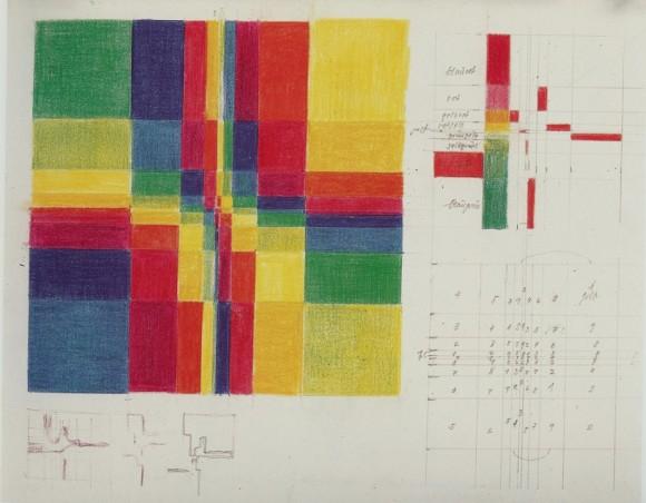 """Estudio """"grupos simétricos"""" (1947), con un boceto del siguiente cuadro y el cuadrado latino asociado."""