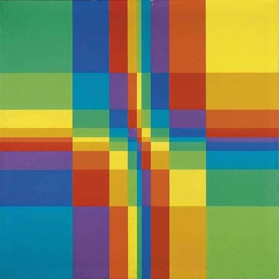 """""""Nueve filas sistemáticasde colorconcompactaciónhorizontaly vertical"""" (1955)."""