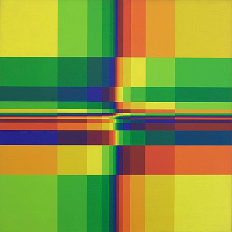 """""""Quince filas sistemáticasde color concompactaciónhorizontaly vertical"""" (1950 y 1967), con un cuadrado latino de orden 15."""