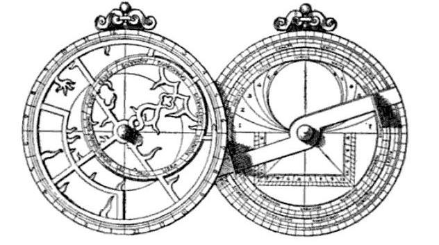 Astrolabio italiano de 1558. Es la parte de la derecha, con las marcas de las medidas sobre la parte rectangular y la regla metálica que marca la altura, la que juega el mismo papel que el cuadrante geométrico.
