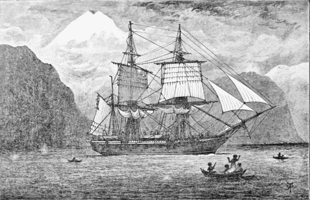 HMS Beagle en el estrecho de Magallanes. Frontispicio en la edición de 1890 de John Murray