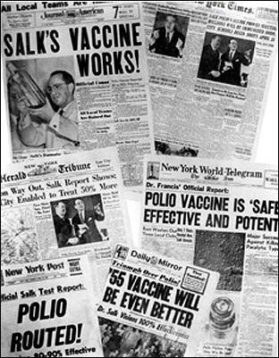 El éxito del estudio de la vacuna de Salk contra la polio fue recogido en todos los medios de comunicación de Estados Unidos