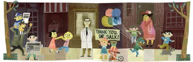 Marta Macho, nos recordaba el 28 de octubre de 2014 en ZTFNews [https://ztfnews.wordpress.com/2014/10/28/centenario-del-nacimiento-de-jonas-salk/], que ese día era el centenario del nacimiento del virólogo Jonas Edward Salk (1914-1995), y que google le había dedicado este doodle