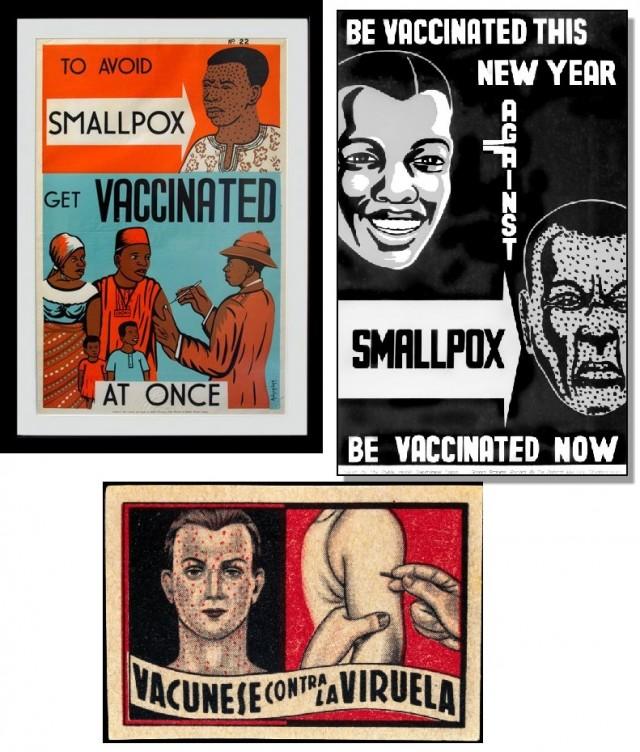 Diferentes pósteres que hacían un llamamiento para que la gente se vacunara contra la viruela, hoy ya erradicada