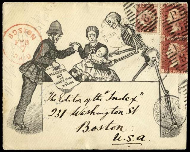 Sobre de una carta que formaba parte de una campaña anti-vacunación de 1879. Sin embargo, la vacuna no es solamente un arma para evitar que un individuo tenga una enfermedad, es un arma contra la propia enfermedad. Desde la invención de las vacunas, se ha erradicado la viruela, la polio está prácticamente erradicada, así como la rubeola, el sarampión, la varicela-zóster o las fiebres tifoideas