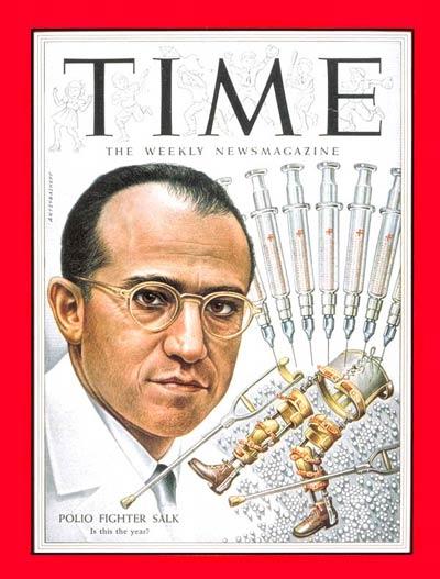 Portada de la revista TIME en la que aparece Jonas Salk, como el médico que lucho contra la polio, el 29 de marzo de 1954
