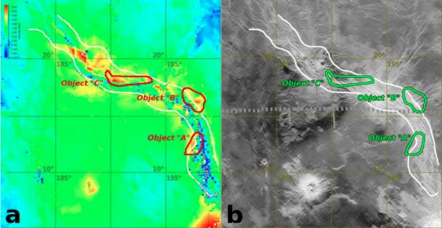 imagen de la VMC con las zonas calientes (izquierda) y mapa de radar de la sonda Magallanes (derecha) (ESA/E.V. Shalygin et al.).