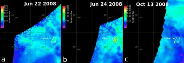 Actividad térmica transitoria en la región de Ganiki Chasma vista por la cámara VMC de la Venus Express (ESA/E.V. Shalygin et al.)