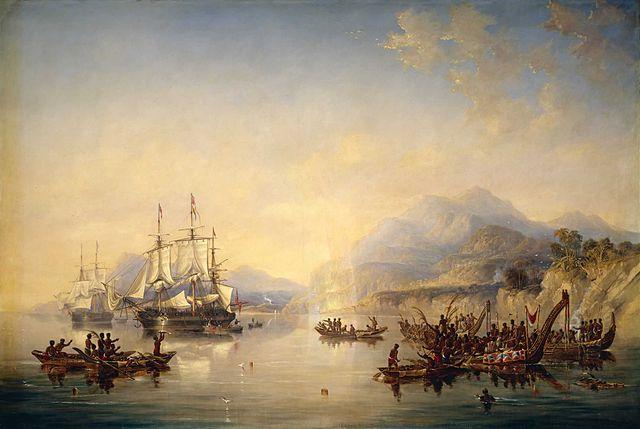 """""""HMS Erebus"""" y """"HMS Terror"""" en Nueva Zelanda en 1841"""