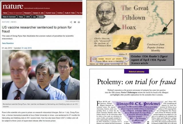 """Figura 1. Desde Ptolomeo hasta este mismo año, pasando por casos clásicos como el """"hombre de Pitdown"""", el fraude científico ha existido siempre."""