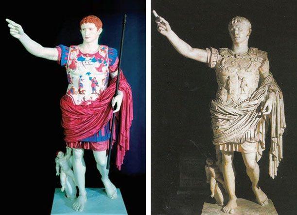 Augustus of Prima Porta y reconstrucción a color por Paolo Liverani, Universidad de Florencia.