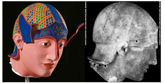 Reconstrucción a color de una cabeza de guerrero del Templo de Aphaia en Aegina y escultura original bajo radiación UV que muestra los patrones de pigmentación (foto de Stiftung Archäologie, Munich)