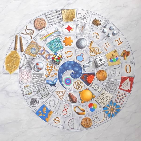 Mathematical game board (2012), Sylvie Donmoyer, oleo sobre lienzo, 71 cm x 71 cm