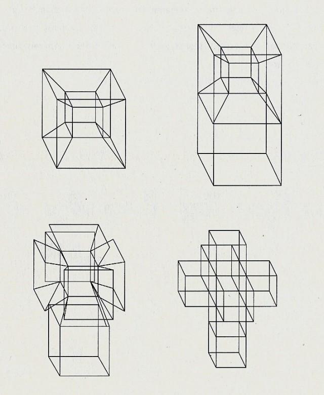 Despliegue, paso a paso, de una caja hipercúbica en el espacio tridimensional, vista a través de su imagen en perspectiva. Imagen del libro La cuarta dimensión, RBA, 2010