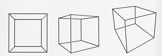 Proyecciones en perspectiva de un cubo desde tres puntos distintos