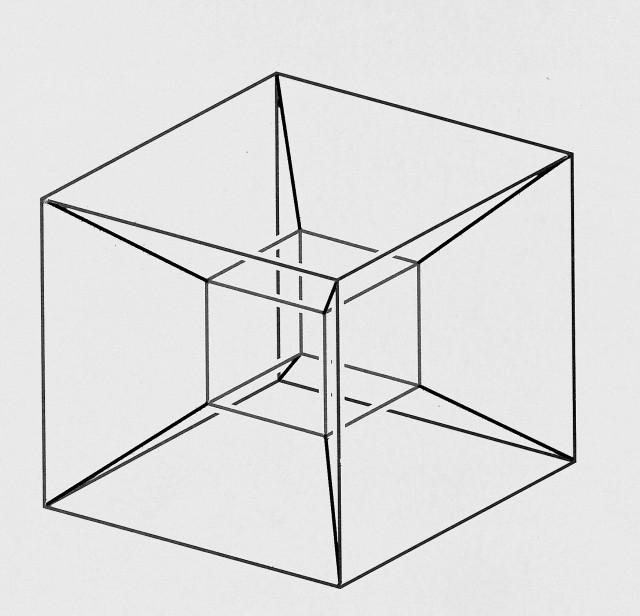 Dibujo de la proyección en perspectiva del hipercubo