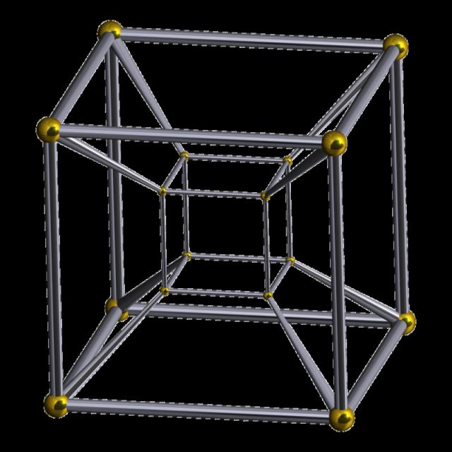 Proyección en perspectiva del hipercubo del espacio tetradimensional en el espacio tridimensional