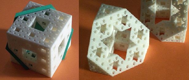 Sección hexagonal de la Esponja de Menger, un fractal de tipo cúbico, realizada por George W. Hart