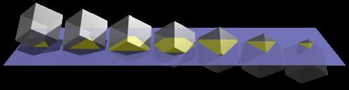 Secciones planas del cubo formadas al atravesar este un espacio plano