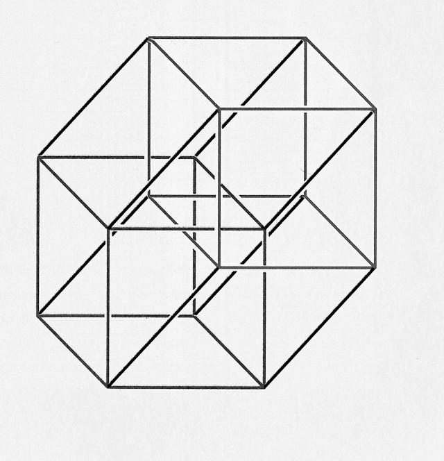 Imagen plana de la proyección ortogonal del hipercubo en el espacio tridimensional (para ello se ha vuelve a proyectar ortogonalmente sobre el plano)