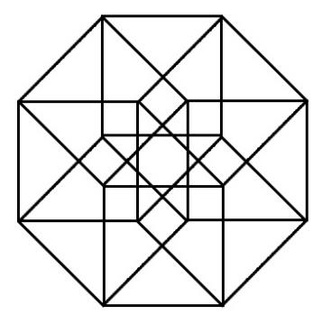 "Representación ortogonal plana ""simétrica"" del teseracto"
