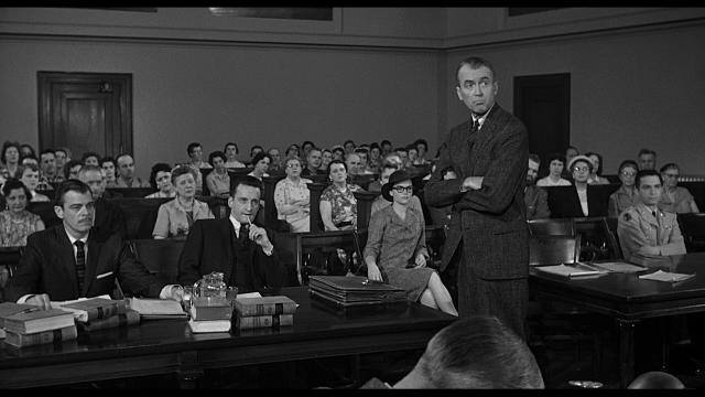 Imagen de la película Anatomía de un asesinato (1959), dirigida por el maestro Otto Preminger e interpretada por James Stewart, en la imagen, y Lee Remick