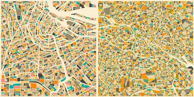 Mapa de Amsterdam y Mapa de Berlín, Jazzberry Blue