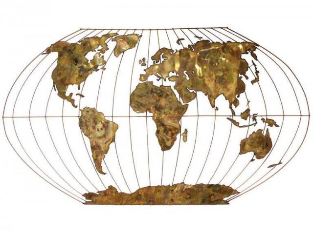 Escultura de metal del mapa de Winkel-Tripel, Curtis Jeré